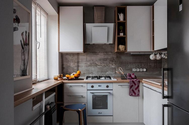 Функциональный подоконник - Дизайн кухни 8 кв.м.