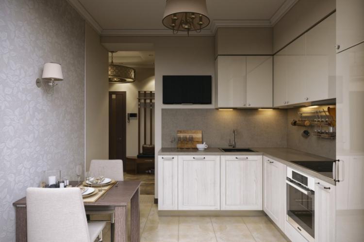 Отделка пола - Дизайн кухни 9 кв.м.
