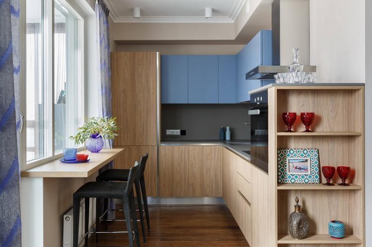 Функциональный подоконник - Дизайн кухни 9 кв.м.