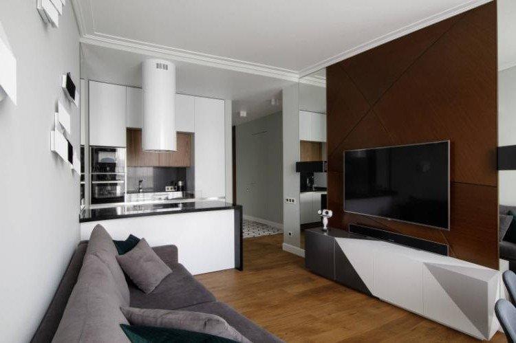 Кухня-гостиная 20 кв.м. в современном стиле - Дизайн интерьера