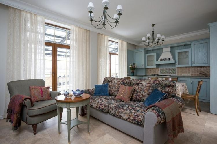 Кухня-гостиная 20 кв.м. в классическом стиле - Дизайн интерьера