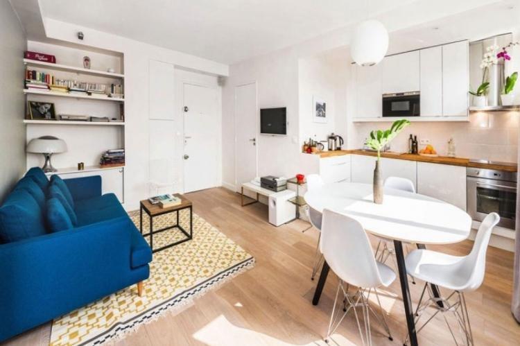 Кухня-гостиная 20 кв.м. в скандинавском стиле - Дизайн интерьера