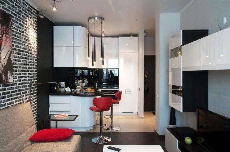 Кухня-гостиная 20 кв.м. в стиле лофт - Дизайн интерьера