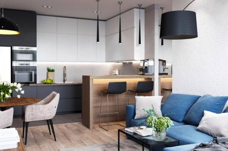 Как выбрать мебель и технику - Дизайн кухни-гостиной 20 кв.м.