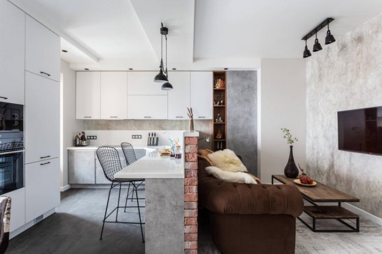 Дизайн потолка - Дизайн кухни-гостиной 20 кв.м.