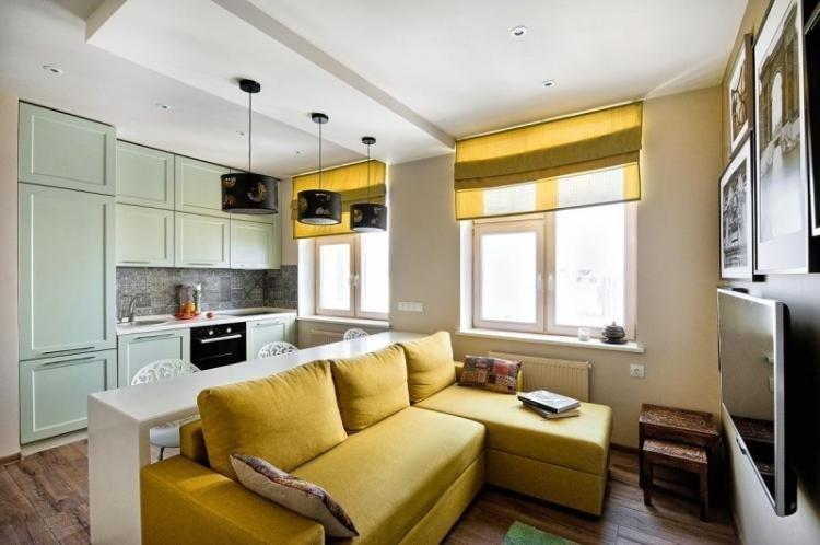 Текстиль - Дизайн кухни-гостиной 20 кв.м.