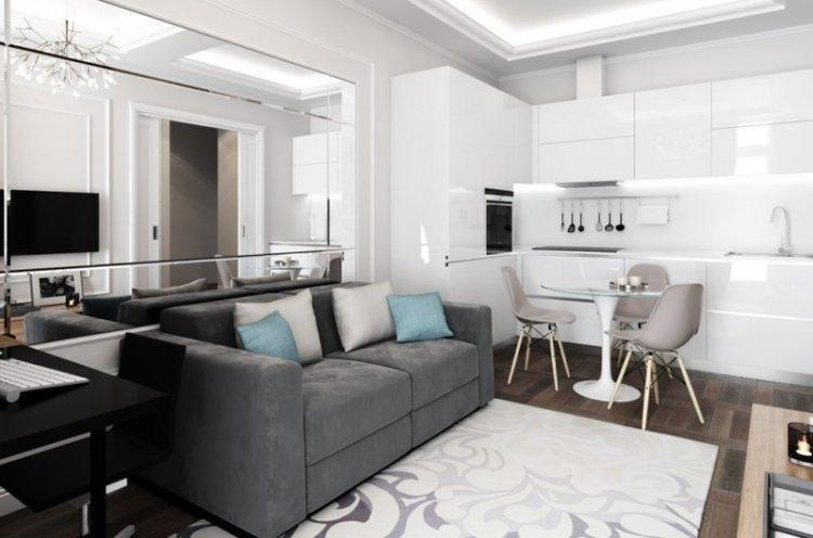 Освещение и подсветка - Дизайн кухни-гостиной 20 кв.м.