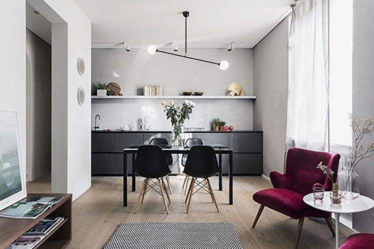 Кухня-гостиная 20 кв.м. - Дизайн интерьера фото