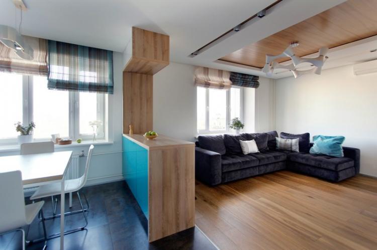 Отделка потолка - Дизайн кухни-гостиной