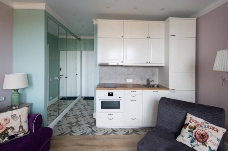 Отделка пола - Дизайн кухни-гостиной