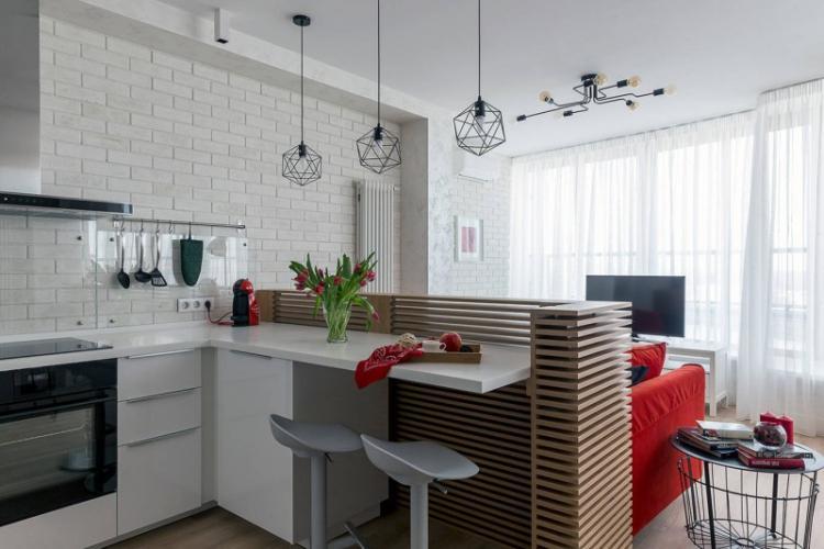 Кухня-гостиная с барной стойкой - Дизайн интерьера