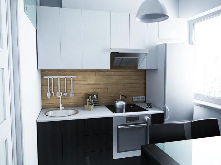 Линейный кухонный гарнитур - Дизайн кухни в хрущевке