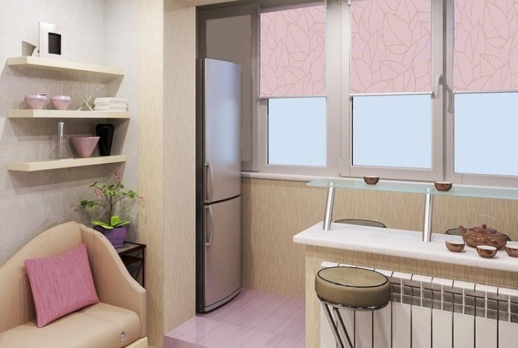 Объединение кухни с балконом - Дизайн кухни в хрущевке