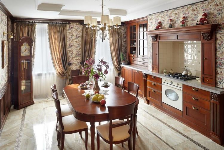 Отделка пола - Дизайн кухни в классическом стиле