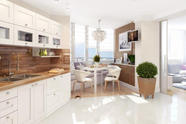 Бежевая кухня в скандинавском стиле - Дизайн интерьера