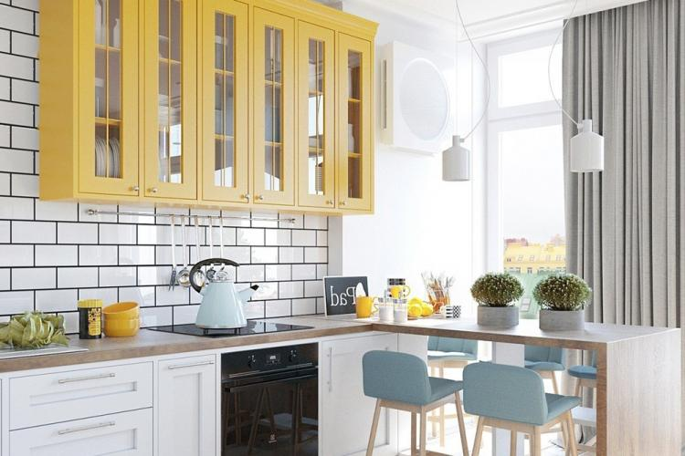 Желтая кухня в скандинавском стиле - Дизайн интерьера