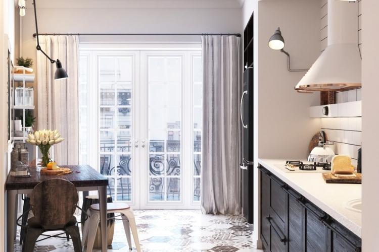 Шторы и текстиль - Дизайн кухни в скандинавском стиле