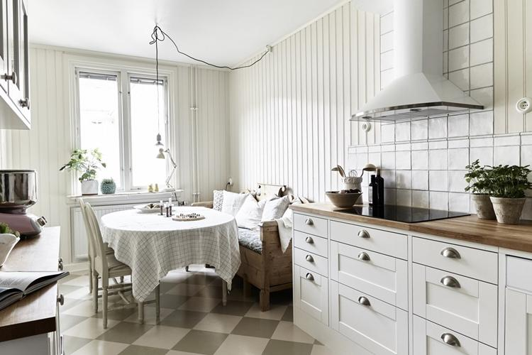 Отделка пола - Дизайн кухни в скандинавском стиле