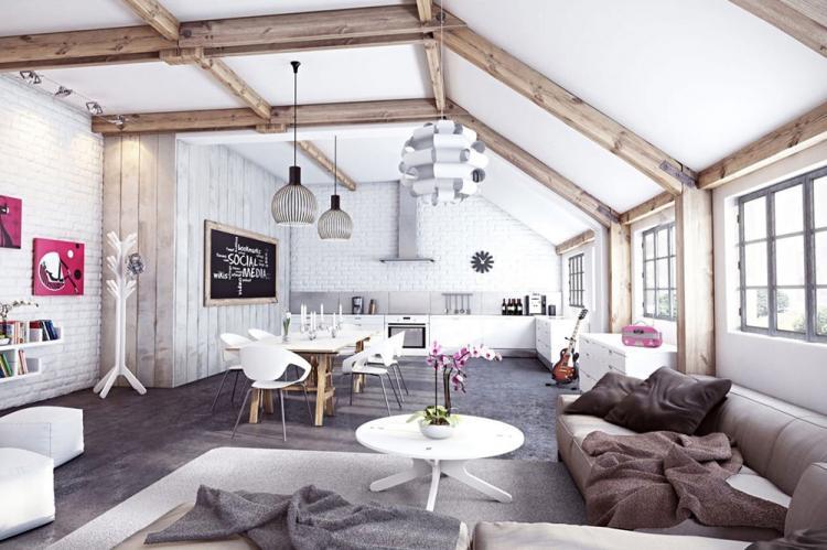 Отделка потолка - Дизайн кухни в скандинавском стиле