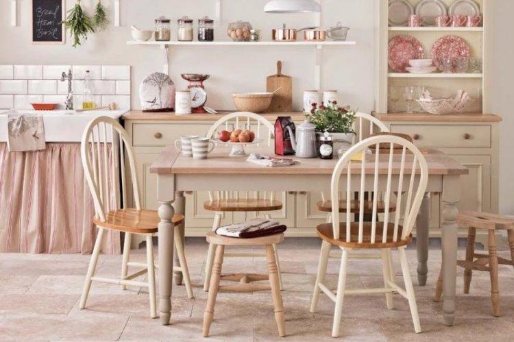 Розовая кухня в стиле кантри - Дизайн интерьера
