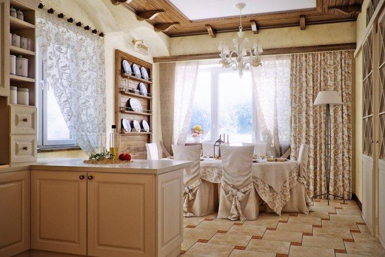 Шторы и текстиль - Дизайн кухни в стиле кантри