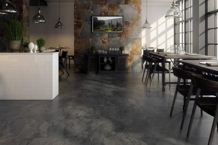 Отделка пола - Дизайн кухни в стиле лофт