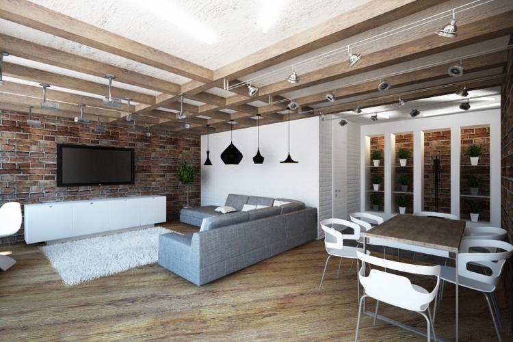 Отделка потолка - Дизайн кухни в стиле лофт