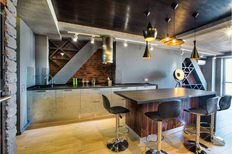 Освещение и подсветка - Дизайн кухни в стиле лофт