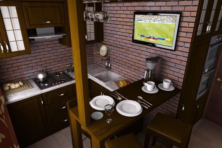 Угловая кухня в стиле лофт - Дизайн интерьера