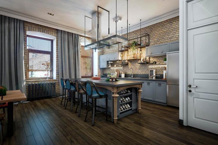 Дизайн кухни в стиле лофт - фото реальных интерьеров