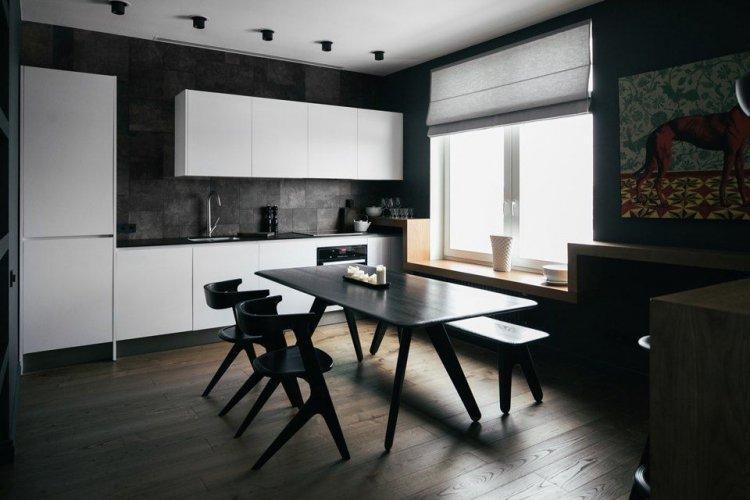 Черная кухня в стиле минимализм - Дизайн интерьера