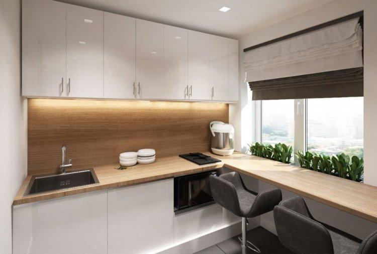 Шторы и текстиль - Дизайн кухни в стиле минимализм