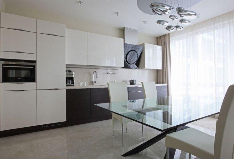 Отделка пола - Дизайн кухни в стиле минимализм