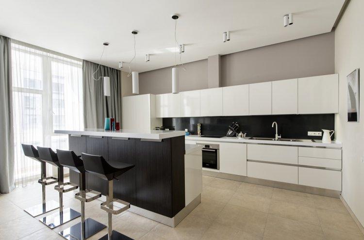 Отделка потолка - Дизайн кухни в стиле минимализм