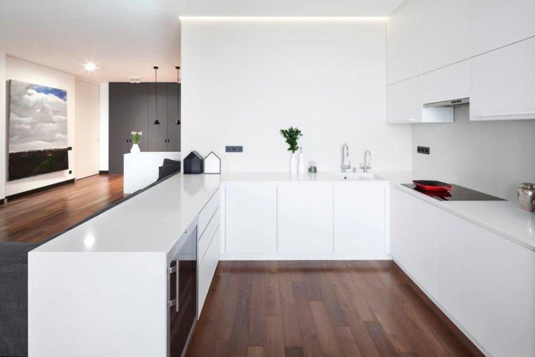 Отделка стен - Дизайн кухни в стиле минимализм