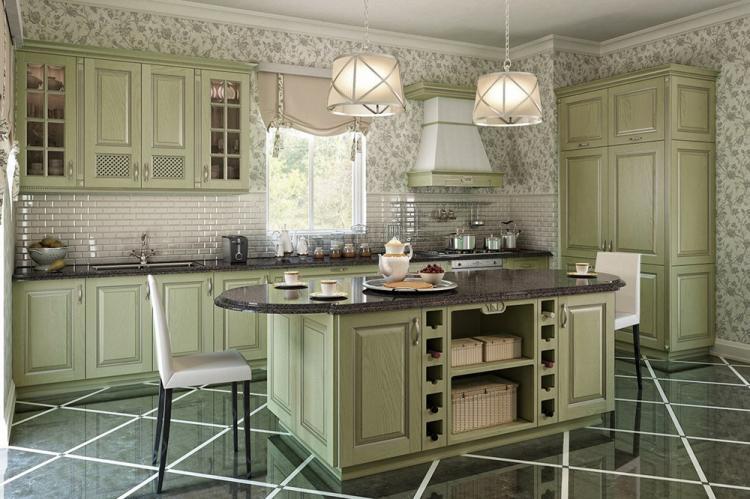 Зеленая кухня в стиле прованс - Дизайн интерьера