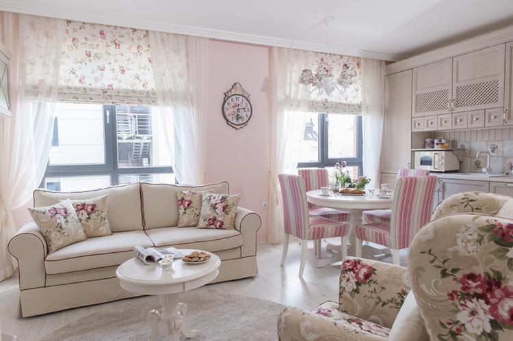 Розовая кухня в стиле прованс - Дизайн интерьера