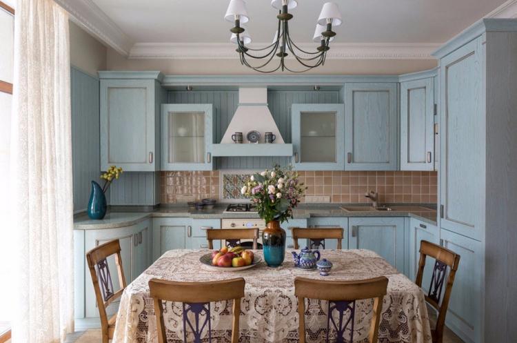 Синяя кухня в стиле прованс - Дизайн интерьера