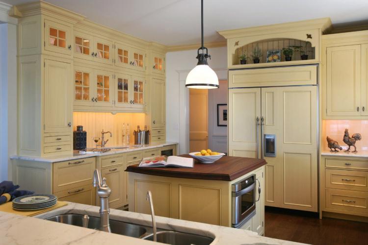 Желтая кухня в стиле прованс - Дизайн интерьера