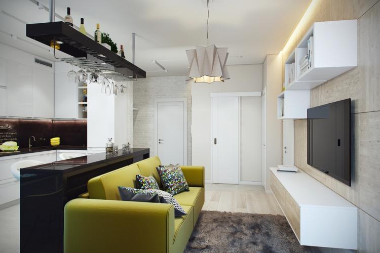 Отделка стен - Дизайн квартиры 30 кв.м.