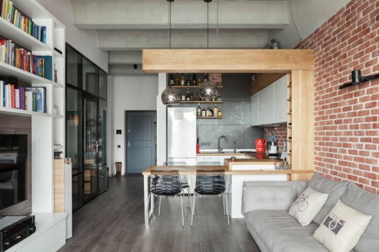 Квартира-студия в стиле лофт - Дизайн интерьера