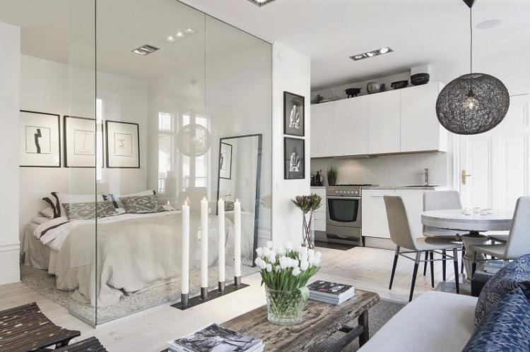 Квартира-студия в скандинавском стиле - Дизайн интерьера