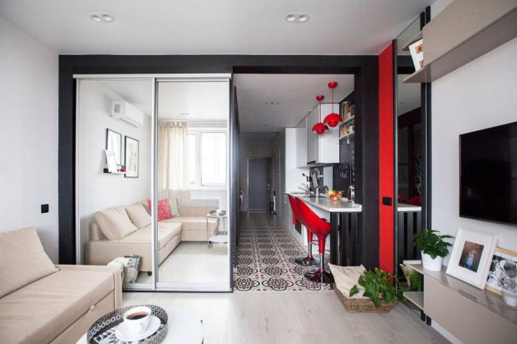 Дизайн интерьера квартиры-студии - фото реальных интерьеров