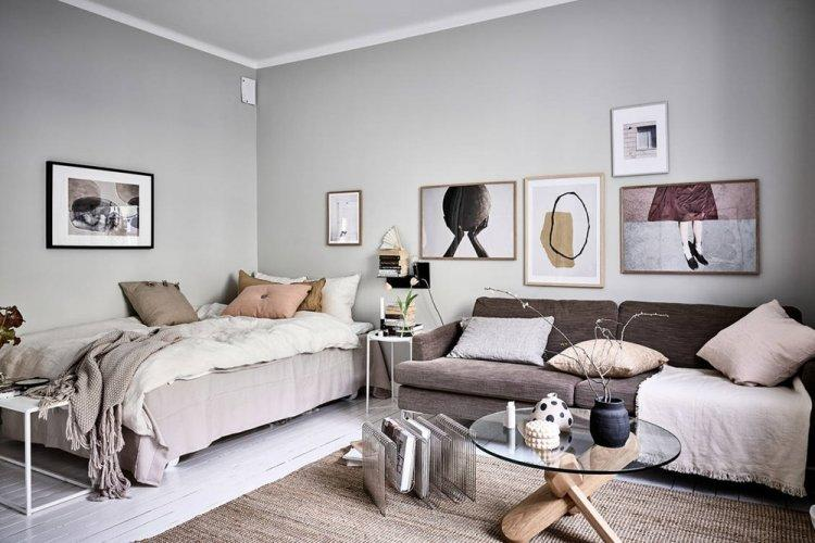 Нетипичная скандинавская студия - Дизайн квартиры в скандинавском стиле