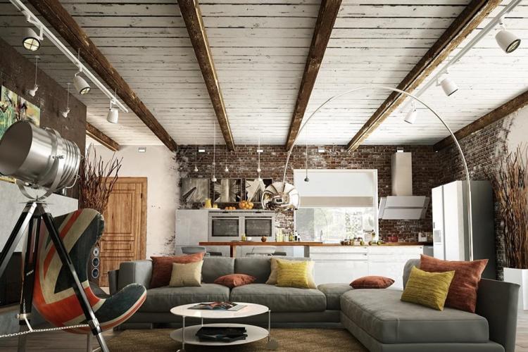 Отделка потолка - Дизайн квартиры в стиле лофт