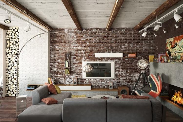 Гостиная - Дизайн квартиры в стиле лофт