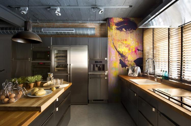Кухня - Дизайн квартиры в стиле лофт
