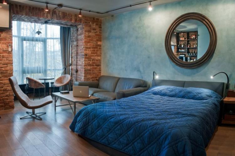 Спальня - Дизайн квартиры в стиле лофт