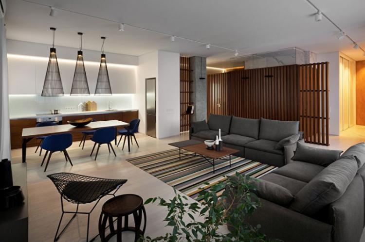 Дизайн квартиры-студии «Wood & Marble»