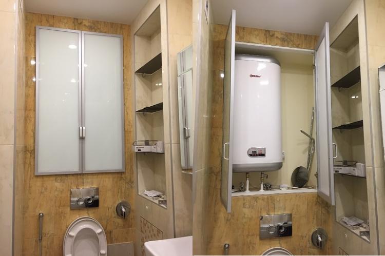 Встроенный бойлер - Дизайн маленького туалета